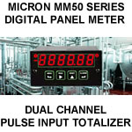 Micron Digital Panel Meter | Dual Channel Pulse Input Totalizer